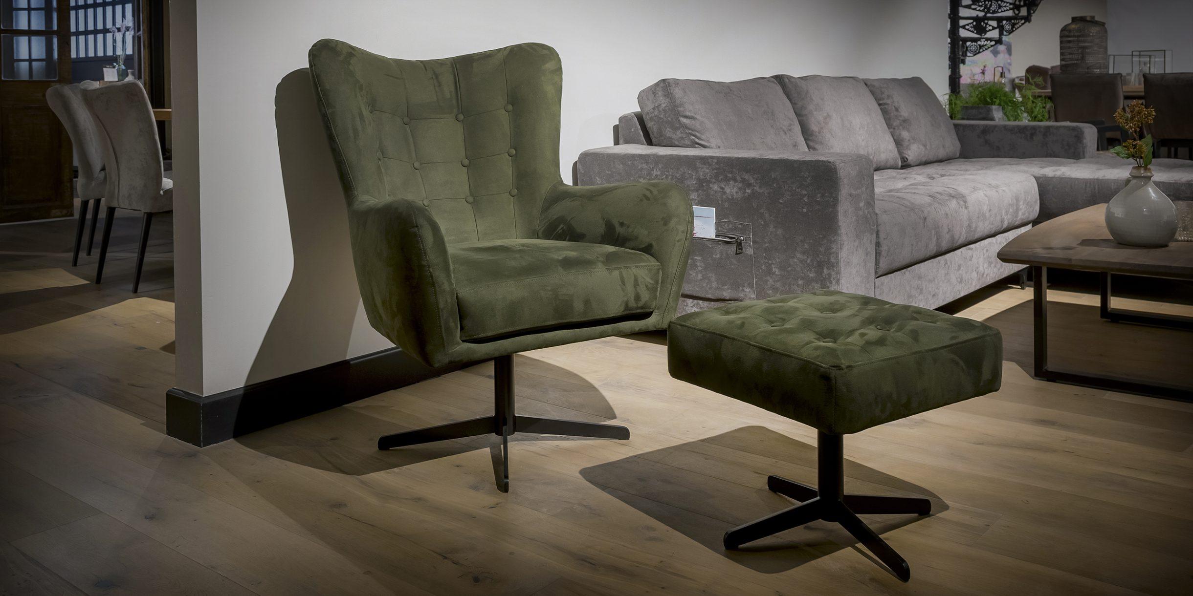 UrbanSofa Flynn fauteuil met hocker HR