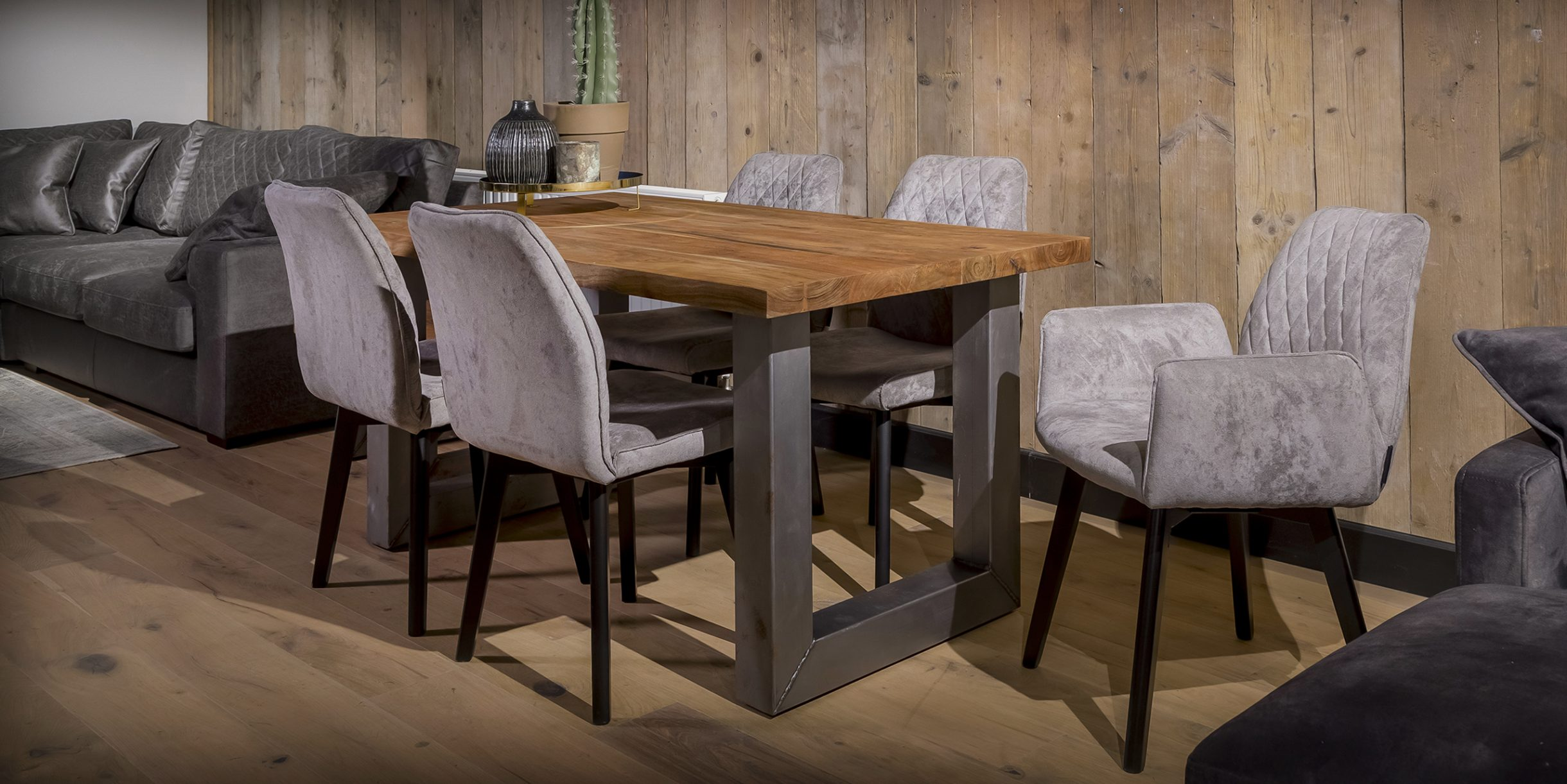UrbanSofa Rocco 160 tafel u pure steel HR